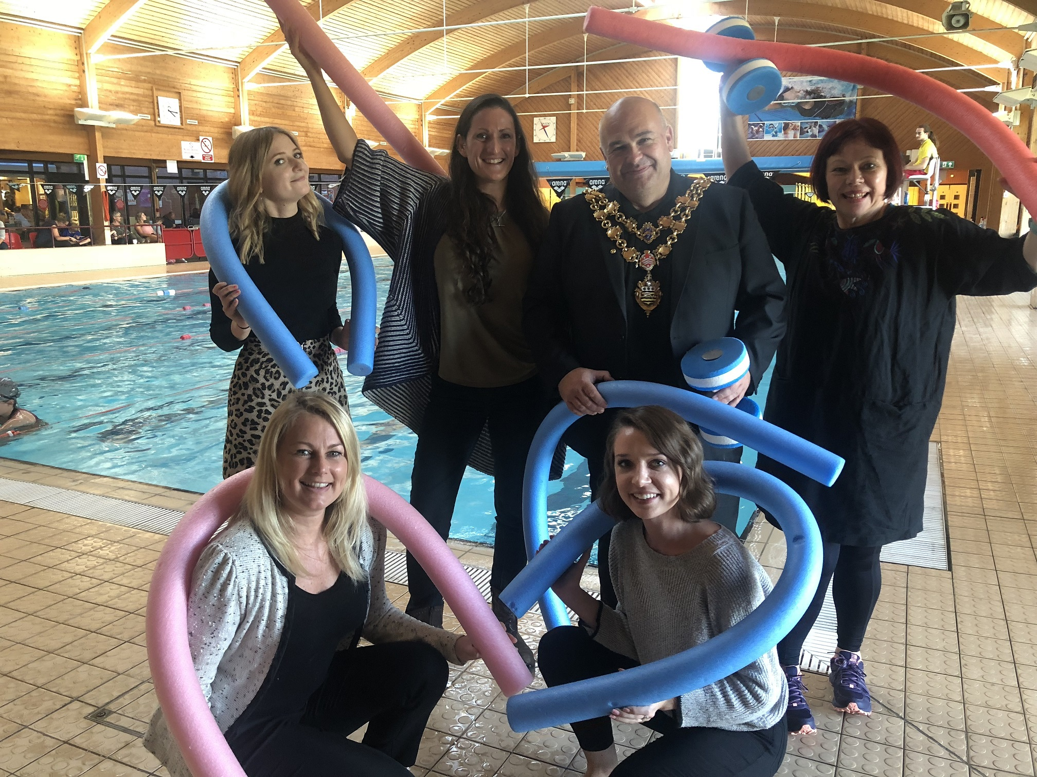 Launching Take on Me at Rossmore Leisure Centre: Top L-R: Perdie Bargh (Lighthouse), Gemma Alldred (Dante or Die), Sean Gabriel (General Manager Rossmore Leisure Centre & Mayor of Poole), Fiona Watson (Dante or Die). Bottom L-R: Lynda Barber (Lighthouse) and Jodie Watkins (Lighthouse)